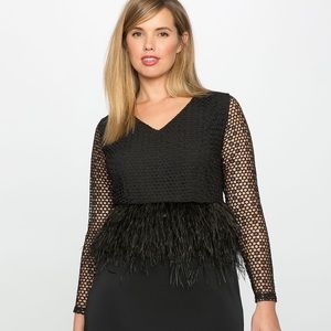 NWOT Eloquii Studio feather and lace peplum dress